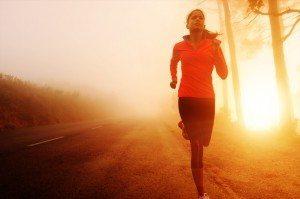 Sunrise running woman